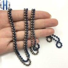 Cadena de cuentas de titanio puro de 3,0x650mm, accesorio de cadena para suéter artesanal de onda de Metal, no se oxida, cadena de cuentas EDC hipoalergénica
