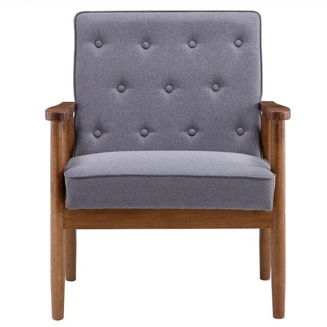 (75 x 69 x 84)cm Retro Modern Wooden Single Chair  Grey Fabric US Warehouse In Stock 6