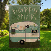 Double-sided Happy Campers Camp Decor Garden Flag Banner with Windproof Rubber Stopper Clip 12.5''x18.5'' 32x47cm