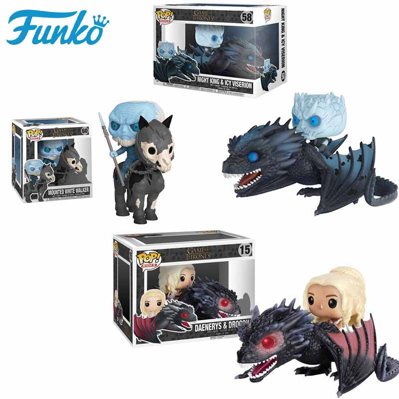 Funko POP Game Of Thrones Night King Original Box Daenerys Rides Drogon Brinquedos PVC Action Figure Collectible Model Gift 2F06