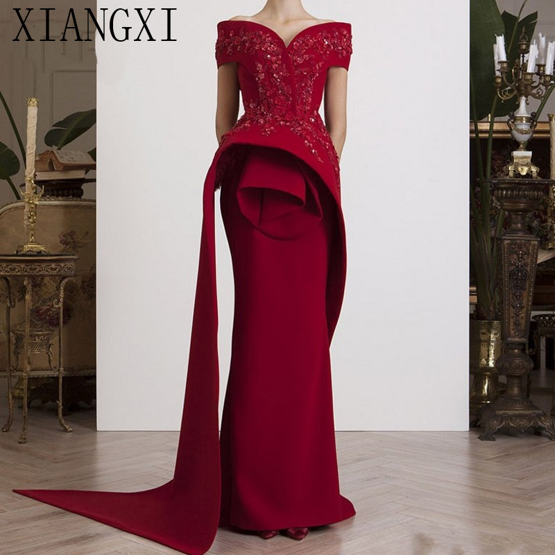 Burgundy Muslim Evening Dresses 2019 Mermaid Off Shoulder Lace Beaded Islamic Dubai Saudi Arabic Long Formal Evening Gown Prom