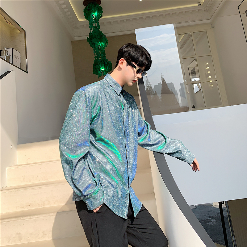 Men Colorful Shiny Fabric Long Sleeve Casual Shirt Male Women Retro Fashion Loose Dress Shirts Stage Show Clothes