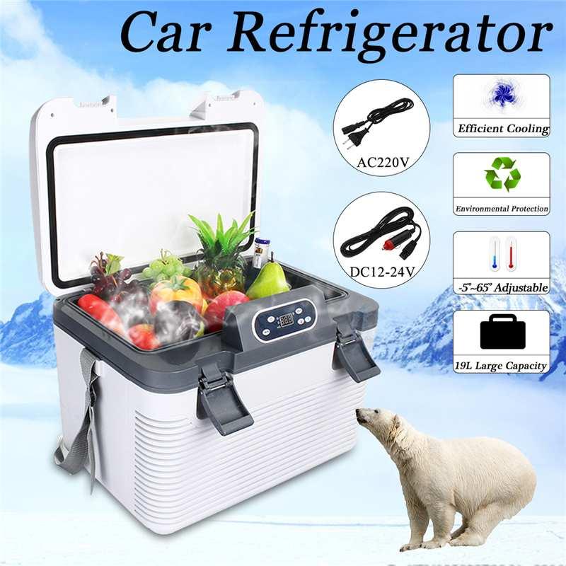 19L Freeze Heating Fridge Compressor DC12-24V/AC220V Refrigerator For  Home Refrigeration Heating -5~65 Degrees