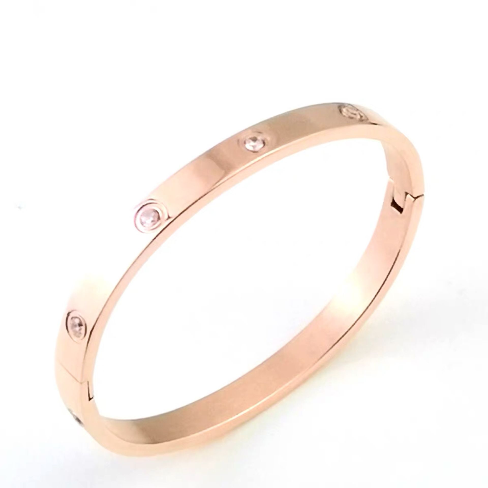 Gold Plating Lover Bracelets&Bangles For Women Rose Gold Color Stainless Steel Charming CZ Cuff Bracelet Luxury Jewelry