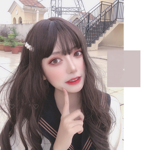 Manwei lolita 55 polegadas longo ondulado marrom cinza boneca japão bonito senhoras peruca de cosplay cabelo sintético