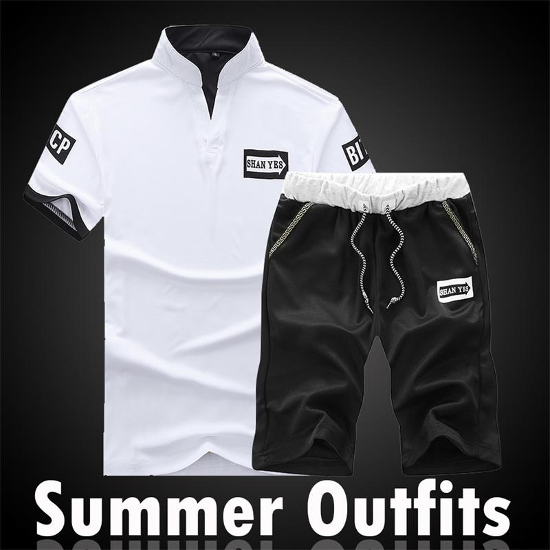Tracksuit Tee Shirt Shorts Mens Summer Stand Collar Sportswear Set Short Sleeve Pants Men Casual Suit Sets Shorts 2 PCS Slim Fit
