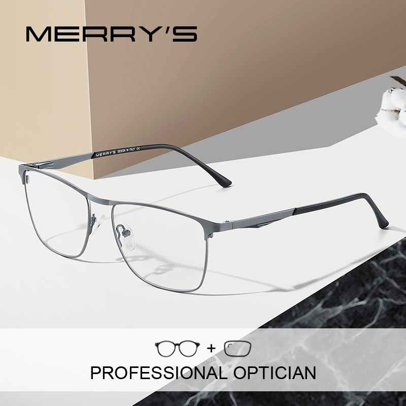 MERRYS DESIGN Men Luxury Prescription Glasses Fashion Myopia Prescription Eyeglasses Male Vintage Style Optical Glasses S2061PG
