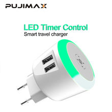 PUJIMAX 5V2.1A LED Timer Control Smart travel charger dual usb inductive Charging For iPhone Samsung Xiaomi Mobile Phone Charger