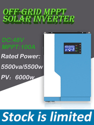 5500W 48VDC 100A MPPT Гибридный Инвертор Номинальная мощность 5500va/5500w Решетки PV Вход: 120-500vdc 6000W/o работа батареи