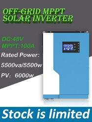 5500W 48VDC 100A MPPT hybrid inverter rated power 5500va/5500w Off Grid  PV input: 120-500vdc 6000W w/o battery work