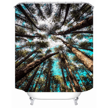 3D sky tree trees polyester printing bathroom shower curtain bathroom partition curtain comes with hook