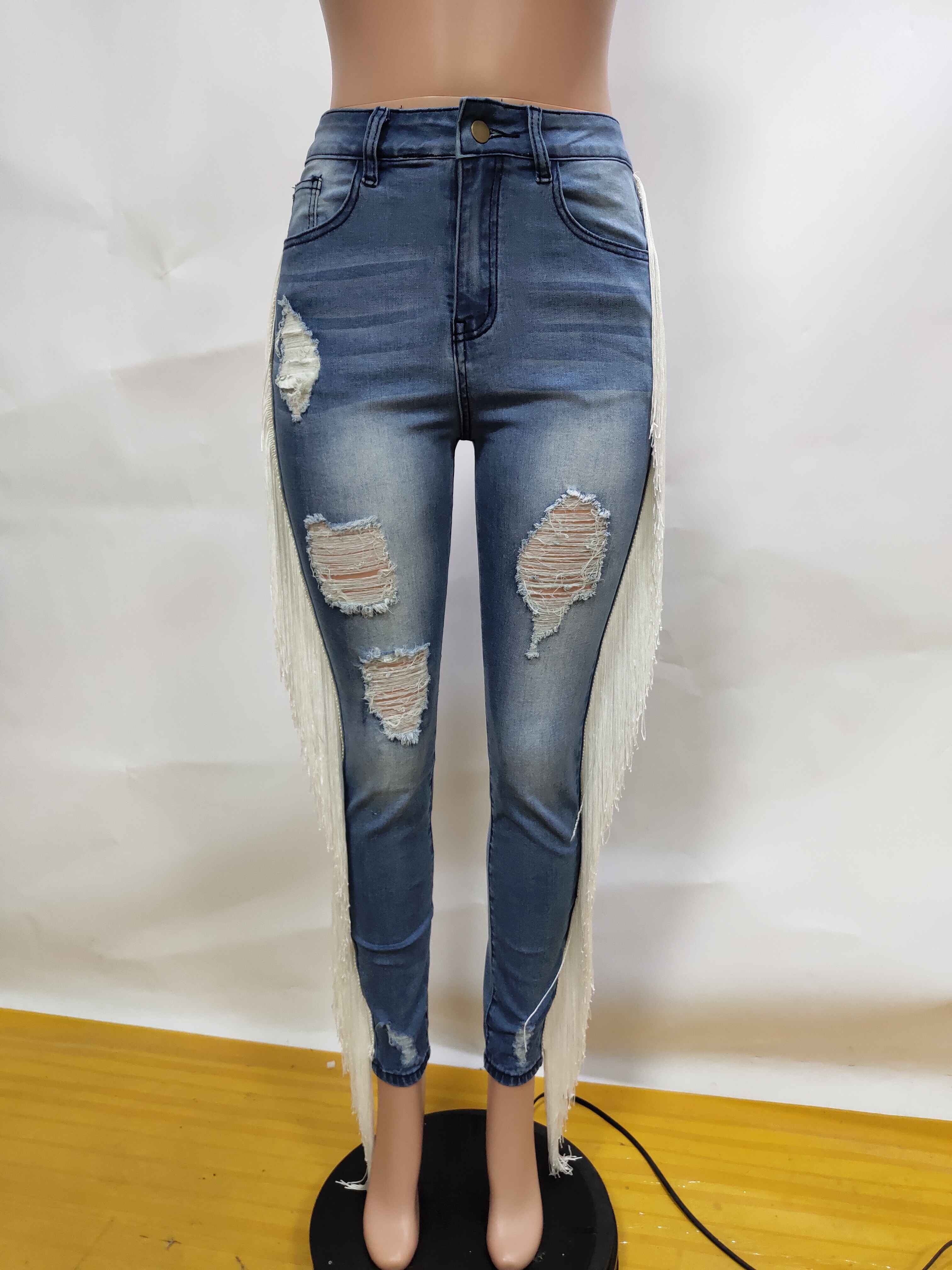 Adogirl Distressed Tassel Jeans 2019 Autumn New Women Fashion Holes Denim Pants Casual Trousers Sexy Night Club Jeans Streetwear Jeans Women Bottom ! Plus Size Women's Clothing & Accessories