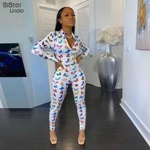 Sisterlinda Fashion Print Skinny Jumpsuits Women Fitness Slim Rompers Zipper Long Bodysuit