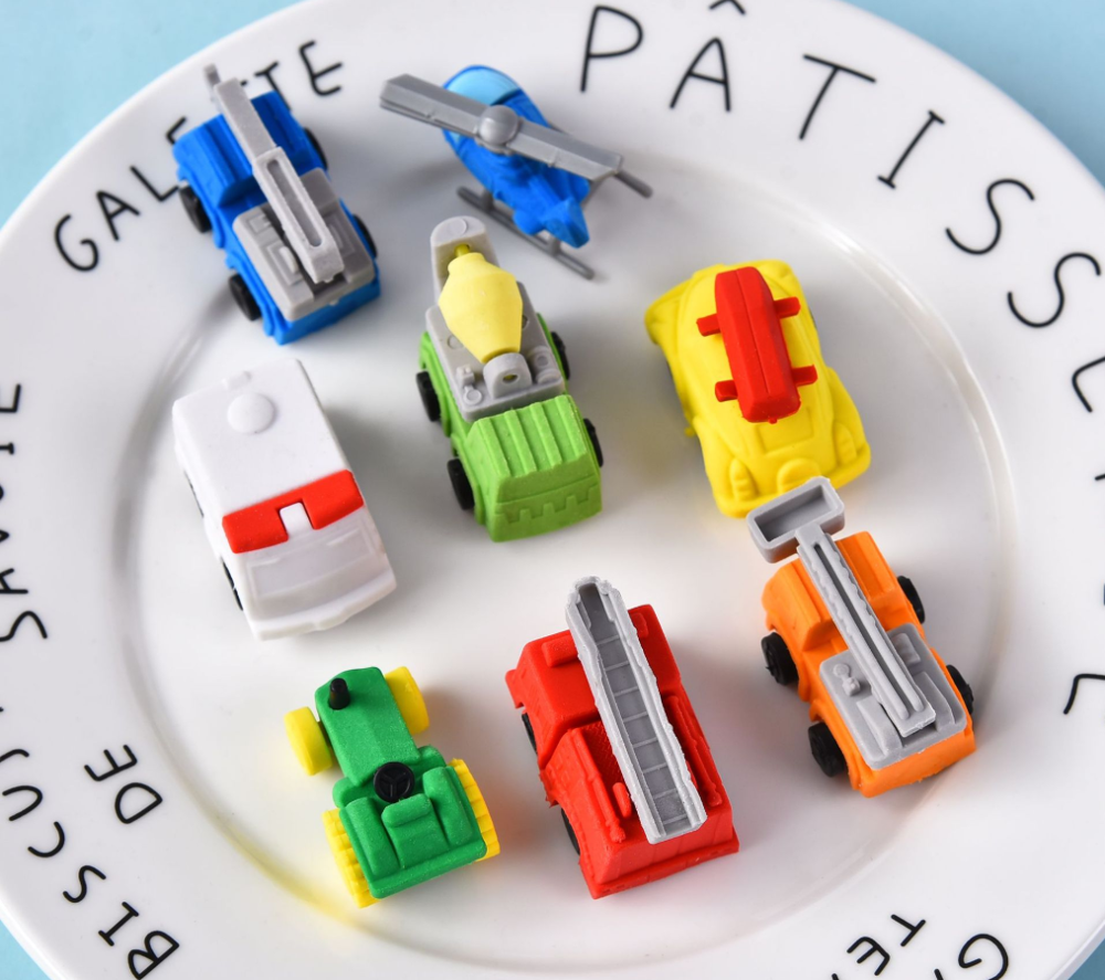 Eraser Set TPR Rubber Cute Ambulance Digger Tractor Crane Airplane Pencil Erasers Stationery For Kids Gift School Supplies Prize