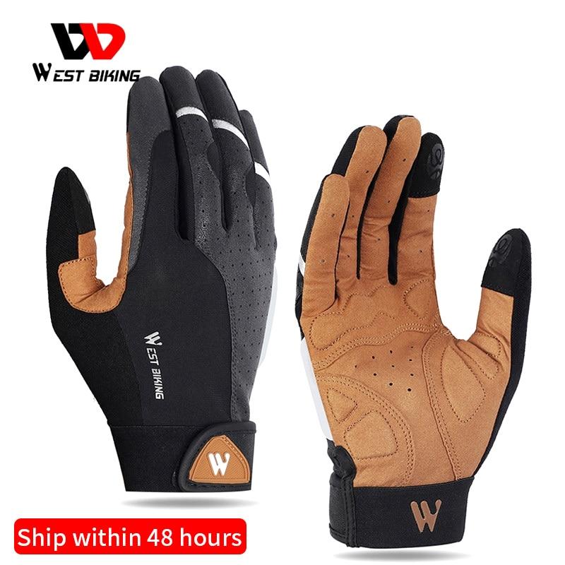 Спортивные велосипедные перчатки WEST BIKING, мужские и женские перчатки для сенсорного экрана, зимние ветрозащитные перчатки для горного велос...