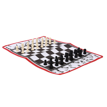2 in 1 Chess & Checkers & Backgammon Set Travel Plastic Chess Game Magnetic Chess Pieces Folding Checkerboard Gift Entertainment