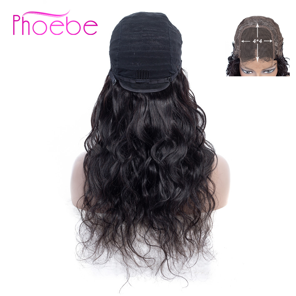 Phoebe 4X4 Lace Closure Human Hair Wigs Body Wave Lace Closure Wigs For Women 150% Density Pre-Plucked Brazilian Hair Non-Remy