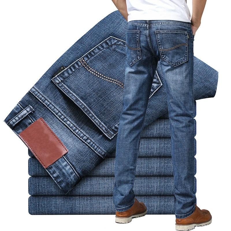 2020 мужские джинсы новые тонкие прямые Стрейчевые мужские джинсовые брюки уличная одежда Синие Серые повседневные джинсовые брюки модные м...