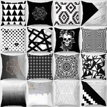 45x45cm Black White Cushion Cover Nordic Geometric Pillow Case Polyester Throw Pillowcases Seat Office Car Sofa