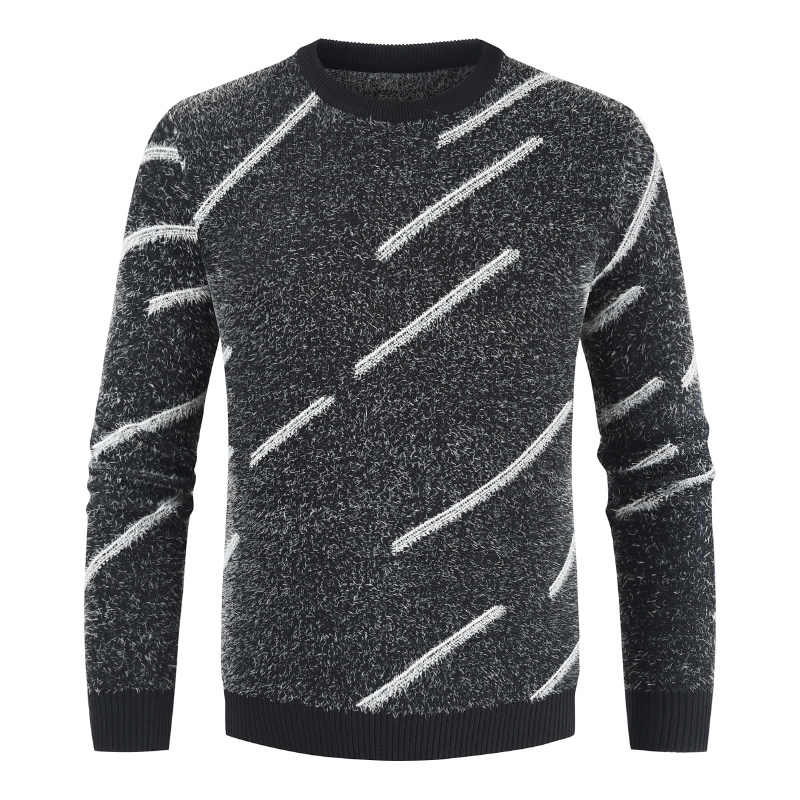 2019 Winter Sweater Men Solid Patchwork Striped O-neck Pullover Men Sweater Fashion KnittedwearThick Warm Wool Sweater Men