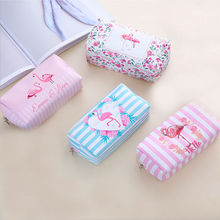цены Flamingo Pencil Case School Cute Canvas Big Pencil Bag Box  for Girls Cosmetic Bag School Supplies Stationery Pencilcase Gift
