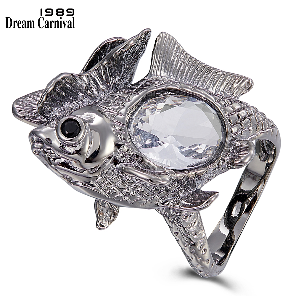 WA11772 DreamCarnival1989 New Arrive Happy Fish Ring Women Big Shiny Zircon Wedding Engagement Rings Strong Character Gun Color (1)