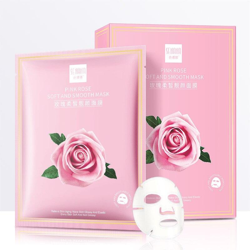 Rose Sheet Mask Moisturizing Face Mask Tender Oil-control Hydration Mask Wrapped Mask Whitening Anti-Aging Korean Skin Care