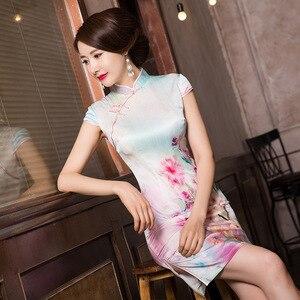 Image 2 - 2019 ขายสั้น Vestido De Debutante ฤดูร้อนใหม่แฟชั่นพิมพ์ผ้าไหม Cheongsam กระโปรงคลาสสิกแยก Slim Dress ผม Substitute