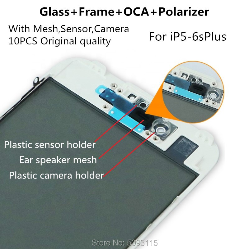 10PCS 4in1 Cold Press Front LCD Screen Outer Glass+Frame OCA+Polarizer For iPhone 6 6s 6plus 6sp 5s display repair Replacement image