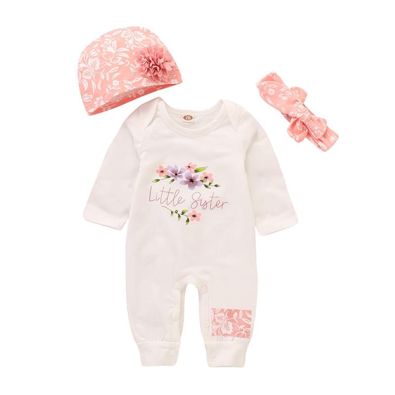 Baby Girl Romper 2019 Autumn Infant Letter Flower Print Long-Sleeved Romper+Headband+Hoops For 3-18M