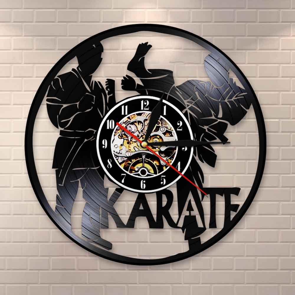 International Karate Vinyl Record Wall Clock Karate Partice Wall Decor Combat Karate Vintage Clock Gift For Fighting Sport Lover