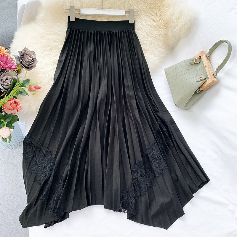 Hollow Out Lace Joint Irregular A- Line Skirt Korean-style Drape Long Skirts High-waisted Slimming Pleated Half-length Skirt