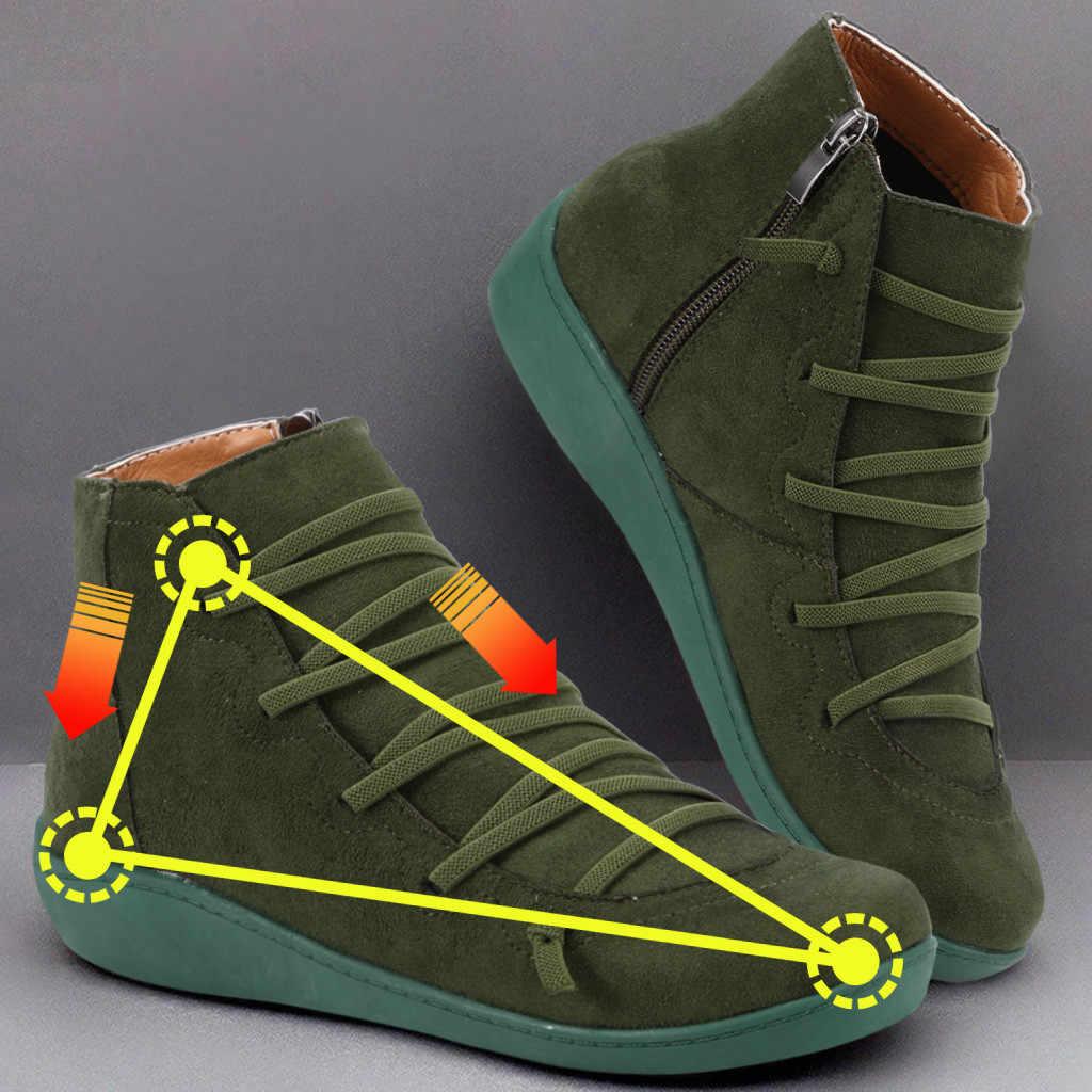 Giày Bốt Nữ Nữ Mùa Đông Giày Boots Nữ Nữ Bằng Giản Đàn Retro Dây Buộc Dây Kéo Bên Hông Tròn mũi Giày Cao Đến Mắt Cá Chân #11