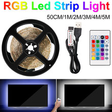 USB LED Streifen Licht RGB SMD 2835 Flexible Band fita led licht streifen RGBW 1 M-5 M Ambilight klebeband Diode DC5V 24 Key Fernbedienung(China)