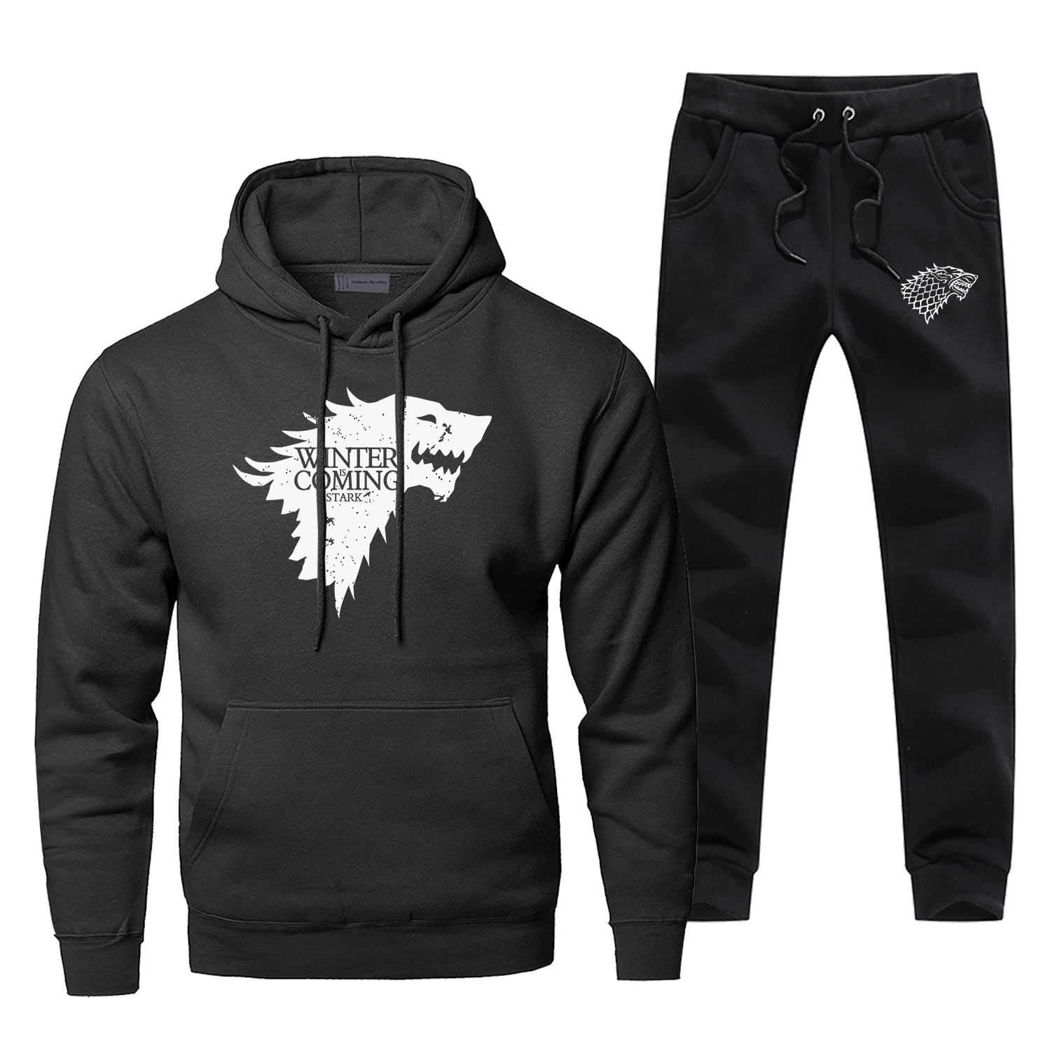 Game Of Thrones Wolf Hoodies Pants Men Sets Track Suit Winter Is Coming Tops Pant Sweatshirt Sweatpants Autumn Sports Tracksuit