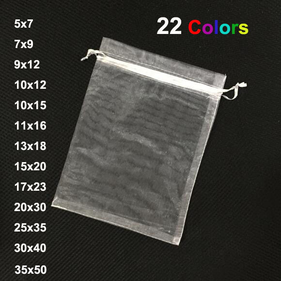 100pcs/lot Small Big White Drawstring Organza Bags Jewellery Pouches Silk Bags Wedding Candy Chocolate Party Packaging Gift Bag