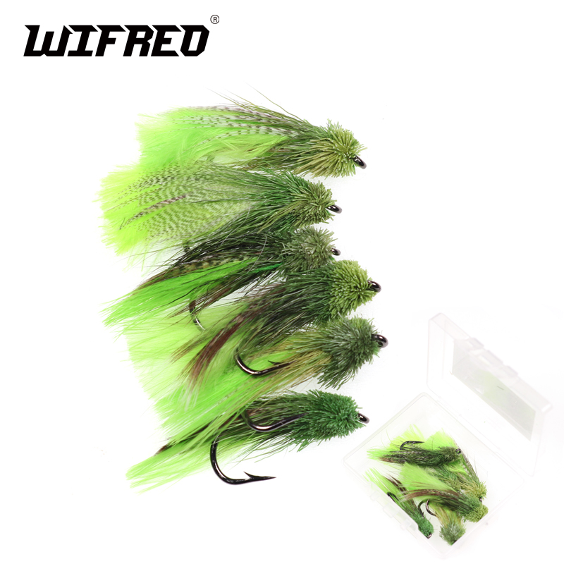Wifreo 6PCS Size 4 Zoo Cougar Fly Slow Sinking Sculpin Imitation Streamer Fly For Trout Fly Fishing