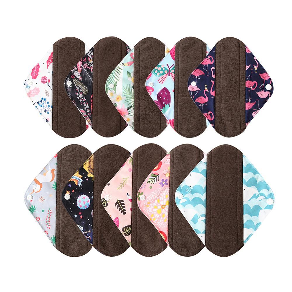 Ohbabyka Washable Women Sanitary Pad Menstrual Napkins Pads Bamboo Charcoal Reusable Mama Cloth Pads Long Panty Liner Size S M L