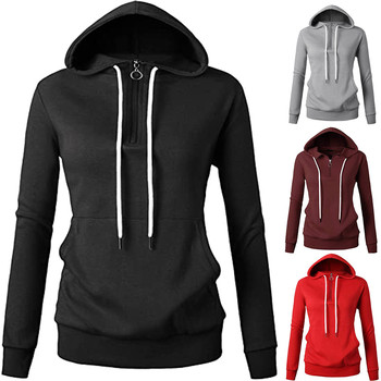 #60 Womens Comfortable Long Sleeve Lightweight Zip-up Hoodie With Kanga Pocket Streetwear Female Sudadera Mujer image