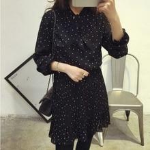 цены на Korean-Style Pleated dress Women Vintage Polka Dot Chiffon Elastic Waist Dresses 2019 Autumn Long Sleeve Bow Tie Neck Dress в интернет-магазинах