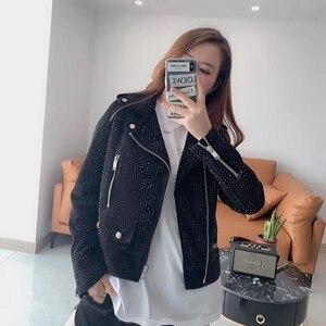 Image 3 - Frau Mäntel Natürliche 100% Schaffell Echtes Leder Jacken 2020 Mode Weibliche Motorrad Schaffell Leder Mauerwerk Mantel