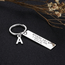 Lettering A-Z Drive Safe Handsome I Love You Couples Keychain Engraved Car Key Chains Keyrings Husband Boyfriend Birthday Gift