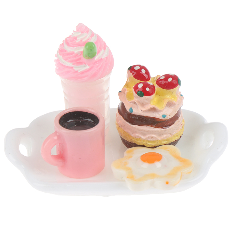 5pcs Mini Clay Cake Snack Simulation Dessert Food Model Toys For Doll House Decoration 1/12 Dollhouse Miniature Accessories