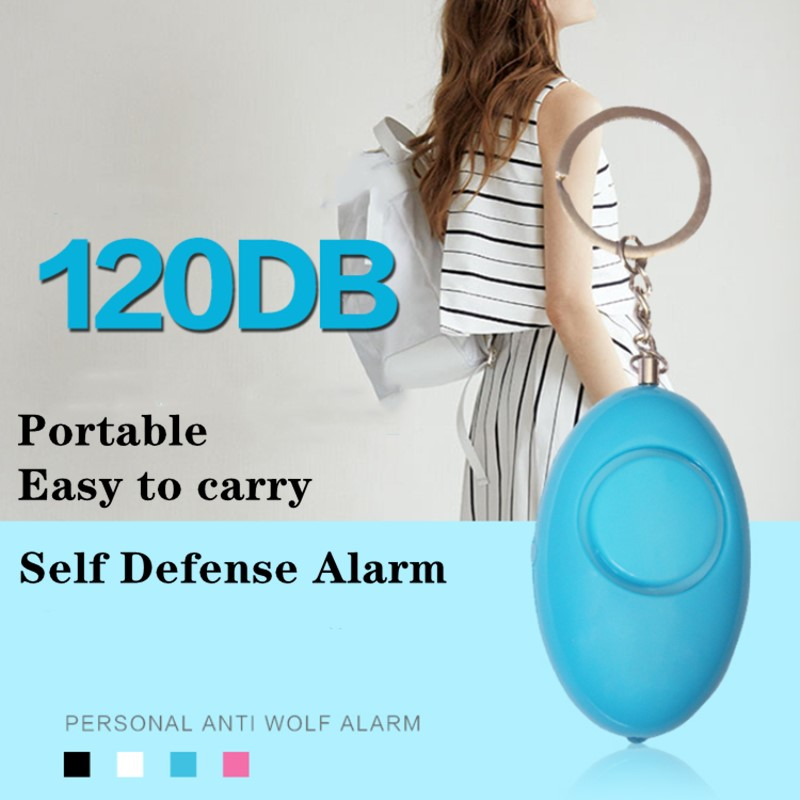 Mini Self Defense Alarm 120dB Egg Shape Girl Women Security Protect Alert Personal Safety Scream Loud Keychain Emergency Alarm