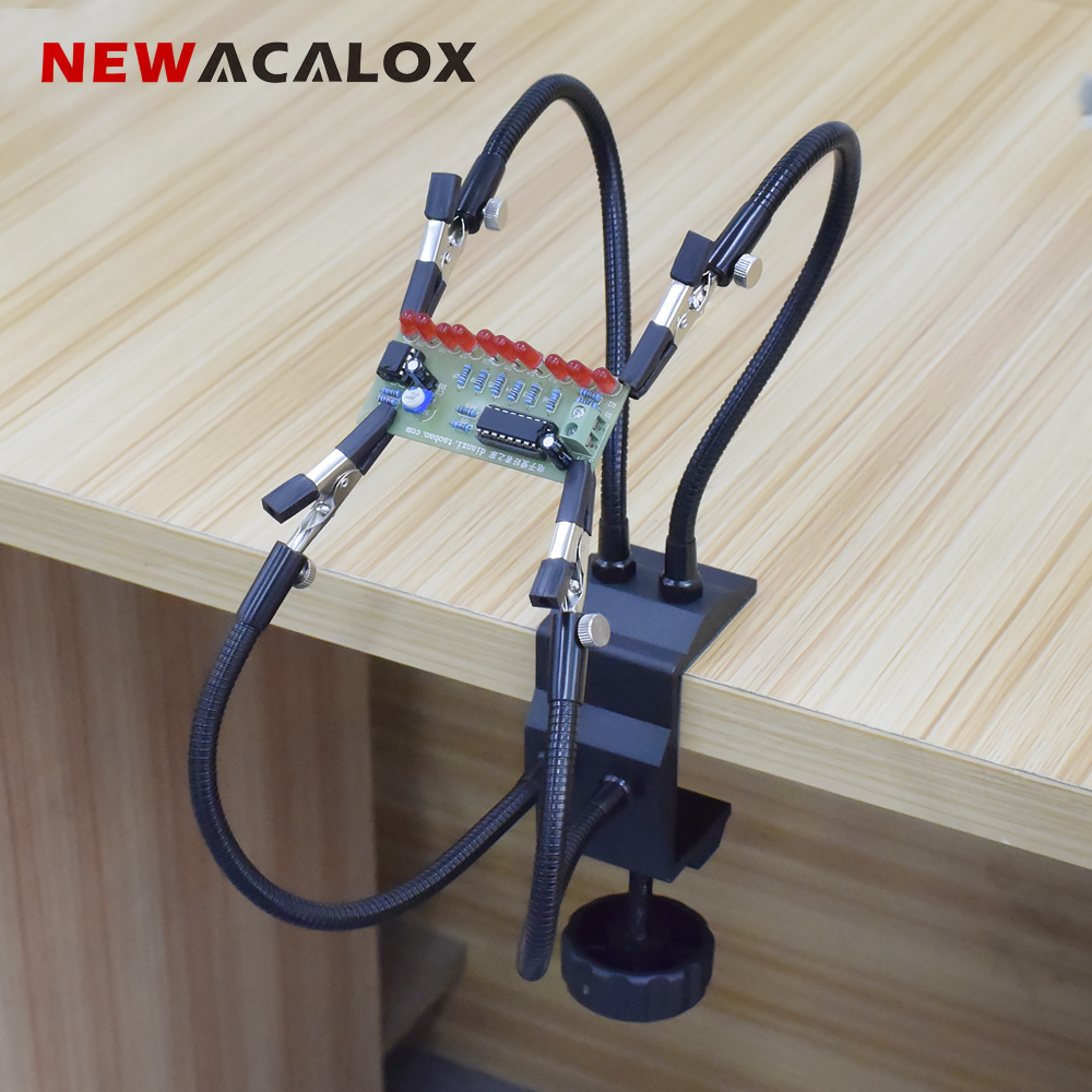 NEWACALOX Soldering Station Holder Desk Clamp PCB Alligator Clip Multi Soldering Helping Hand Third Hand Tool For Welding Repair