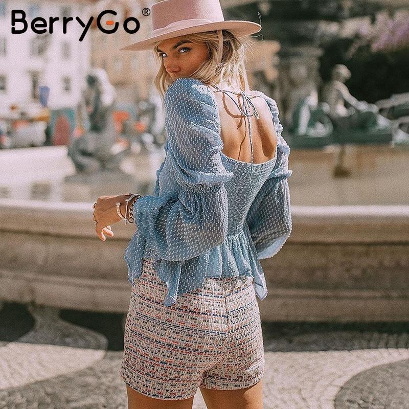 BerryGo Sexy Chiffon Polka Dots Ruffle Blouse Women Casual Square Collar Lantern Sleeve Blouse Female Elegant Solid Slim Blouse