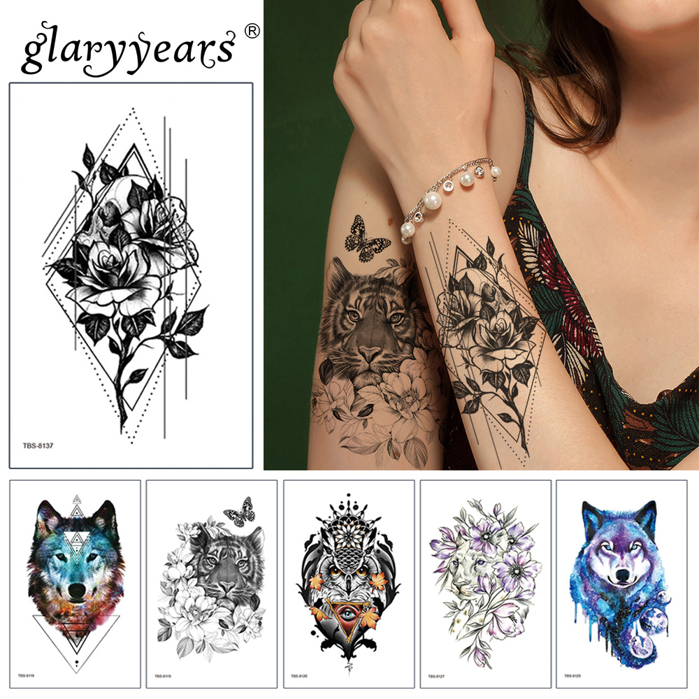Glaryyears 19*12cm Temporary Tattoo Sticker Colorful Fake Flower And Animals Flash Waterproof  Fashion Small Body Art Men Women