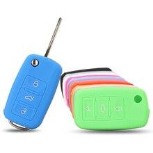 New Silicone Car Key Cover Case For VW Golf 4 5 6 7 Bora Jetta POLO MK4 MK6 Bora Passat B5 B6 Superb Tiguan Beetle 3 Buttons
