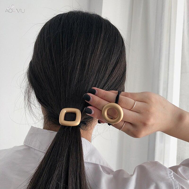 AOMU 1PC Elastic Rubber Band Women Headwear Hairband Hollow Round Square Matte Metal Hair Rope Girls Hair Accessories
