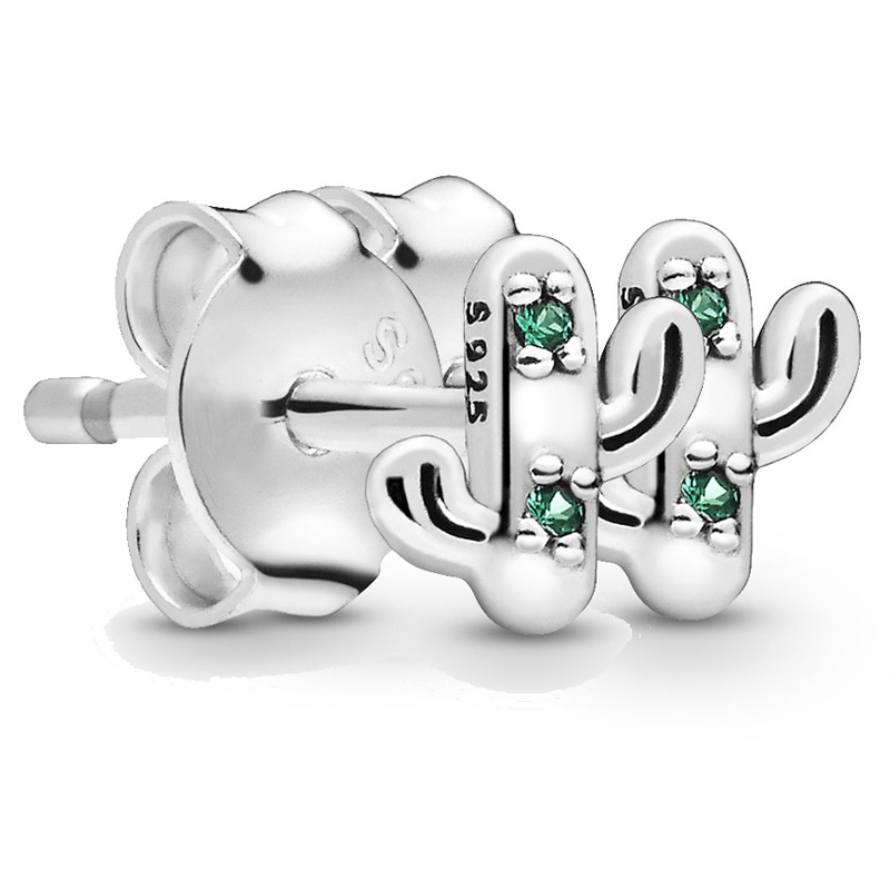 Original Sparkling My Lovely Cactus Stud Earrings With Crystal For Women 925 Sterling Silver Earring Gift DIY Pandora Jewelry